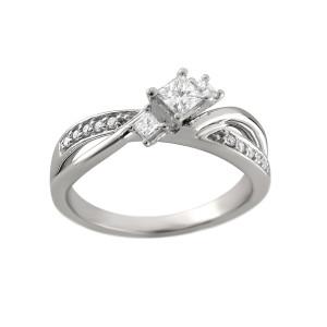 White Gold 2/5ct TDW Princess Three-stone Diamond Ring - Custom Made By Yaffie™