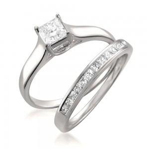 White Gold 7/8ct TDW Princess-cut Diamond 2-piece Bridal Set - Custom Made By Yaffie™