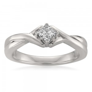 Jewelry White Gold 1/7ct TDW Princess-cut Diamond Composite-set Promise Ring - Custom Made By Yaffie™