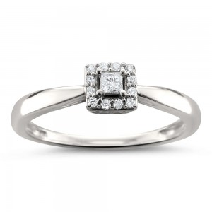 Jewelry White Gold 1/8ct TDW Princess-cut Diamond Halo Engagement Ring - Custom Made By Yaffie™
