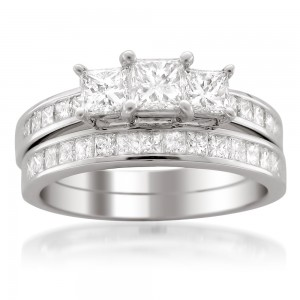 Jewelry White Gold 2ct TDW Certified Princess-cut Diamond Engagement and Wedding Ring Bridal Set - Custom Made By Yaffie™