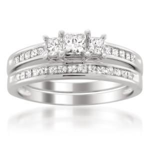 Platinum 1 1/2ct TDW Diamond 3-stone Bridal Ring Set - Custom Made By Yaffie™