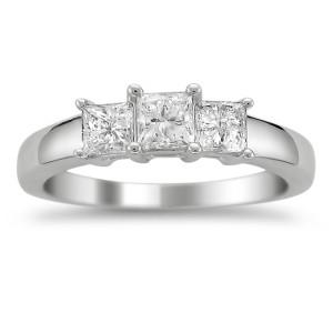 Platinum 1ct TDW Princess-cut Diamond 3-stone Ring - Custom Made By Yaffie™