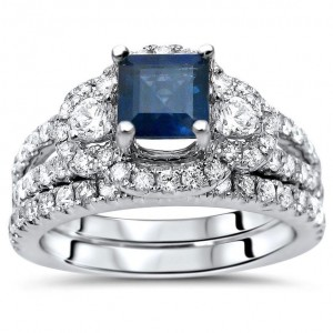 1 1/2 TGW Princess Cut Blue Sapphire Diamond Engagement Ring Set White Gold - Custom Made By Yaffie™