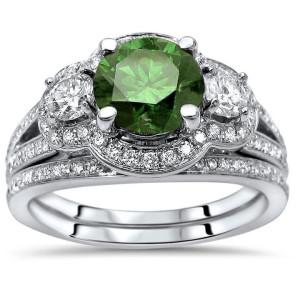 1 1/2ct Green Round Diamond 3 Stone Engagement Ring Bridal Set White Gold - Custom Made By Yaffie™