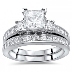 Gold 2 1/4ct Princess Cut Diamond Enhanced Three Stone Engagement Ring Set - Custom Made By Yaffie™