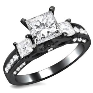 Black Gold 1 1/2ct TDW 3-stone Enhanced Princess Cut Diamond Engagement Ring - Custom Made By Yaffie™