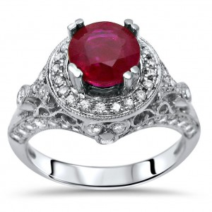 Gold 1ct TGW Round Ruby and 5/8ct TDW Diamond Engagement Ring - Custom Made By Yaffie™