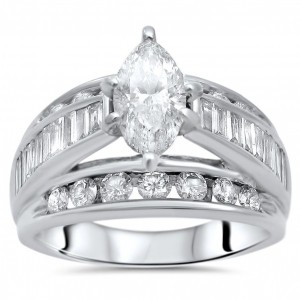 Gold 2 1/2 ct TDW Marquise Diamond Engagement Ring - Custom Made By Yaffie™