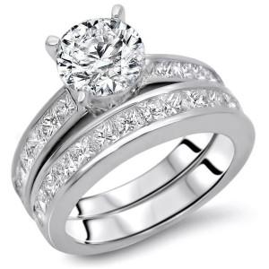 Gold 2 1/2ct TDW Round Diamond Enhanced Engagement Ring Set - Custom Made By Yaffie™