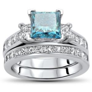 Gold 2 3/4ct TDW Blue Princess-cut Diamond Bridal Set - Custom Made By Yaffie™