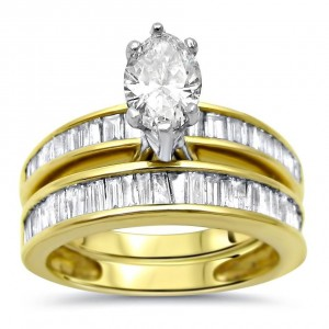Gold 2ct TDW Marquise Baguette Diamond Engagement Ring Bridal Set - Custom Made By Yaffie™