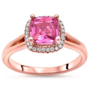 Rose Gold 1 1/10 TGW Cushion Cut Pink Sapphire Diamond Engagement Ring - Custom Made By Yaffie™