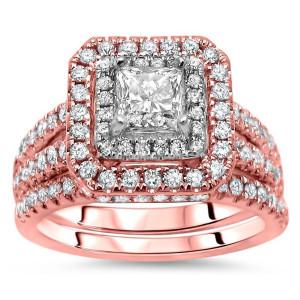 Rose Gold 1 1/3ct TDW Princess-cut Diamond Enhanced Bridal Set - Custom Made By Yaffie™