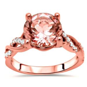 Rose Gold 1 3/5ct TGW Round Morganite and 1/5ct TDW Diamond Engagement Ring - Custom Made By Yaffie™