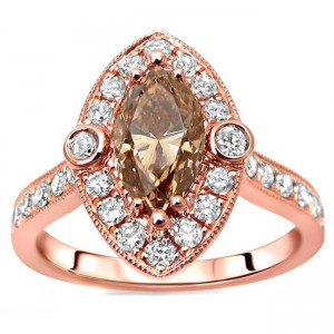 Rose Gold 1 4/6ct TDW Marquise Brown Diamond Engagement Ring - Custom Made By Yaffie™