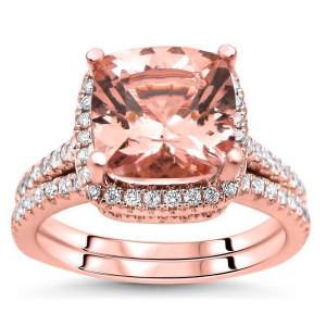 Rose Gold 2 1/2ct TGW Cushion-cut Morganite Diamond Engagement Ring Bridal Set - Custom Made By Yaffie™
