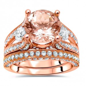Rose Gold 3ct TGW Morganite and 1 1/2ct TDW 3-stone Diamond Engagement Ring Set - Custom Made By Yaffie™