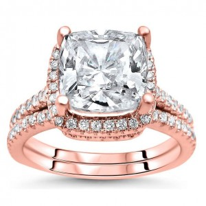 Rose Gold Cushion-cut Moissanite and 1/2ct TDW Diamond Bridal Set - Custom Made By Yaffie™