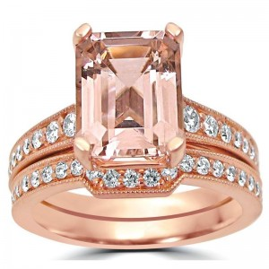 Rose Gold Emerald-cut Morganite Diamond Engagement Ring Bridal Set - Custom Made By Yaffie™