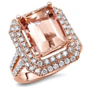 Rose Gold Emerald-cut Morganite and 4/5ct TDW Diamond Engagement Ring - Custom Made By Yaffie™