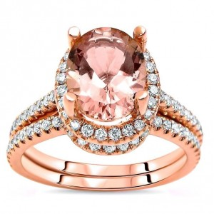 Rose Gold Morganite and 1/2ct TDW White Diamond Engagement Bridal Set - Custom Made By Yaffie™