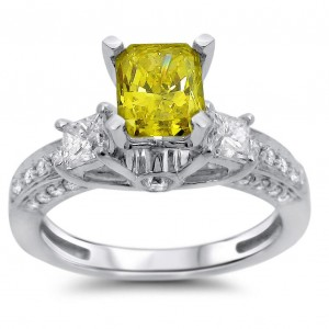White Gold 1 1/2ct Radiant Fancy Yellow and White Three-stone Diamond Ring - Custom Made By Yaffie™