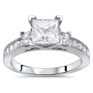 White Gold 1 1/2ct TDW Enhanced Princess-cut 3-stone Diamond Engagement Ring - Custom Made By Yaffie™