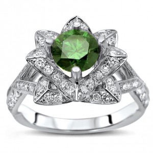 White Gold 1 1/2ct TDW Green Diamond Lotus Flower Engagement Ring - Custom Made By Yaffie™