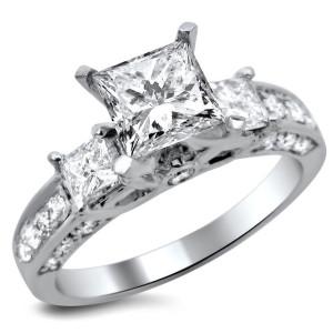 White Gold 1 1/2ct TDW Princess-cut Diamond 3-stone Engagement Ring - Custom Made By Yaffie™