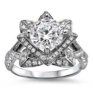 White Gold 1 1/2ct TDW Round-cut Diamond Lotus Flower Engagement Ring - Custom Made By Yaffie™
