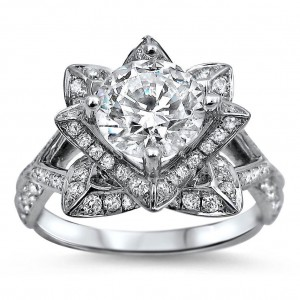 White Gold 1 1/2ct TDW Round-cut Diamond Lotus Flower Engagement Ring - Custom Made By Yaffie™
