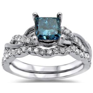 White Gold 1 1/5ct TDW Blue and White Diamond Bridal Set - Custom Made By Yaffie™