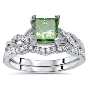 White Gold 1 1/5ct TDW Green Princess Cut Diamond Engagement Ring Bridal Set - Custom Made By Yaffie™