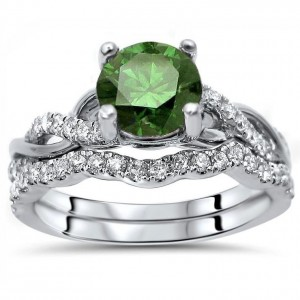 White Gold 1 1/6ct Green Round Diamond Engagement Ring Bridal Set - Custom Made By Yaffie™