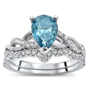 White Gold 1 2/5ct TDW Blue and White Diamond Bridal Set - Custom Made By Yaffie™