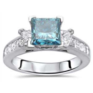 White Gold 1 3/4ct TDW Blue Princess-cut 3-stone Diamond Engagement Ring - Custom Made By Yaffie™