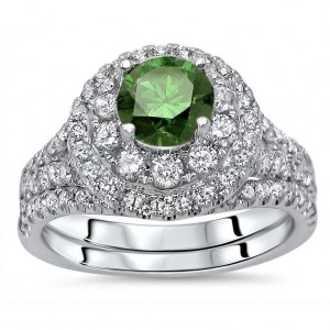 White Gold 1 3/4ct TDW Green Round Diamond Double Halo Engagement Ring Bridal Set - Custom Made By Yaffie™