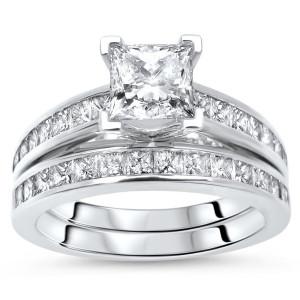 White Gold 1 3/4ct TDW Princess Cut Diamond Enhanced Engagement Ring Bridal Set - Custom Made By Yaffie™