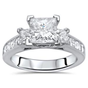 White Gold 1 3/4ct TDW Princess-cut 3-stone Diamond Engagement Ring - Custom Made By Yaffie™