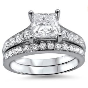 White Gold 1 3/4ct TDW Princess-cut Diamond Bridal Set - Custom Made By Yaffie™