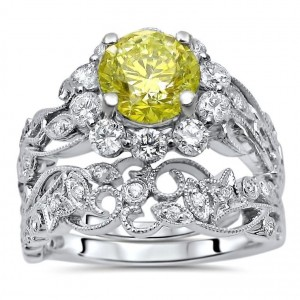 White Gold 1 3/4ct Yellow Round Diamond Engagement Ring Bridal Set White Gold - Custom Made By Yaffie™