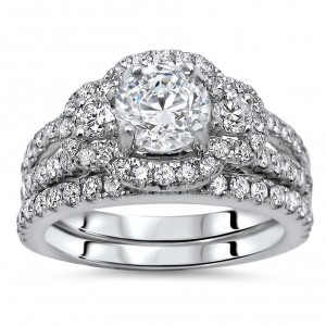 White Gold 1 3/5ct TDW Round Diamond Enhanced Bridal Set - Custom Made By Yaffie™