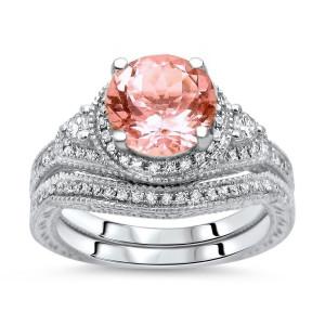 White Gold 1 3/5ct TGW Round-cut Morganite Diamond Engagement Ring Bridal Set - Custom Made By Yaffie™
