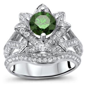 White Gold 1 7/8ct TDW Green Round Diamond Lotus Flower Bridal Set - Custom Made By Yaffie™
