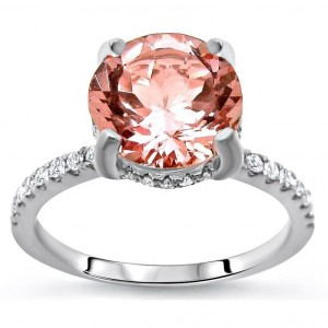 White Gold 1 9/10ct TGW Round-cut Morganite and Diamond Engagement Ring - Custom Made By Yaffie™