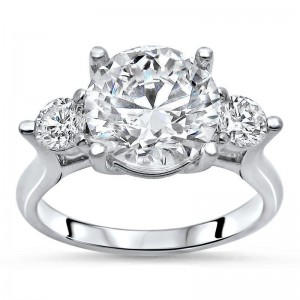 White Gold 1/2ct TDW Diamond and Moissanite 3-stone Engagement Ring - Custom Made By Yaffie™