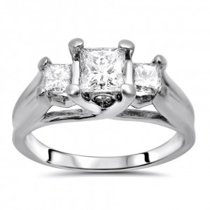 White Gold 1ct TDW Princess Diamond 3-stone Engagement Ring - Custom Made By Yaffie™