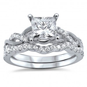 White Gold 1ct TDW Princess-cut Clarity Enhanced Diamond Bridal Ring Set - Custom Made By Yaffie™