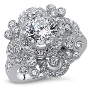 White Gold 1ct TDW Vintage Style Diamond Engagement Ring - Custom Made By Yaffie™